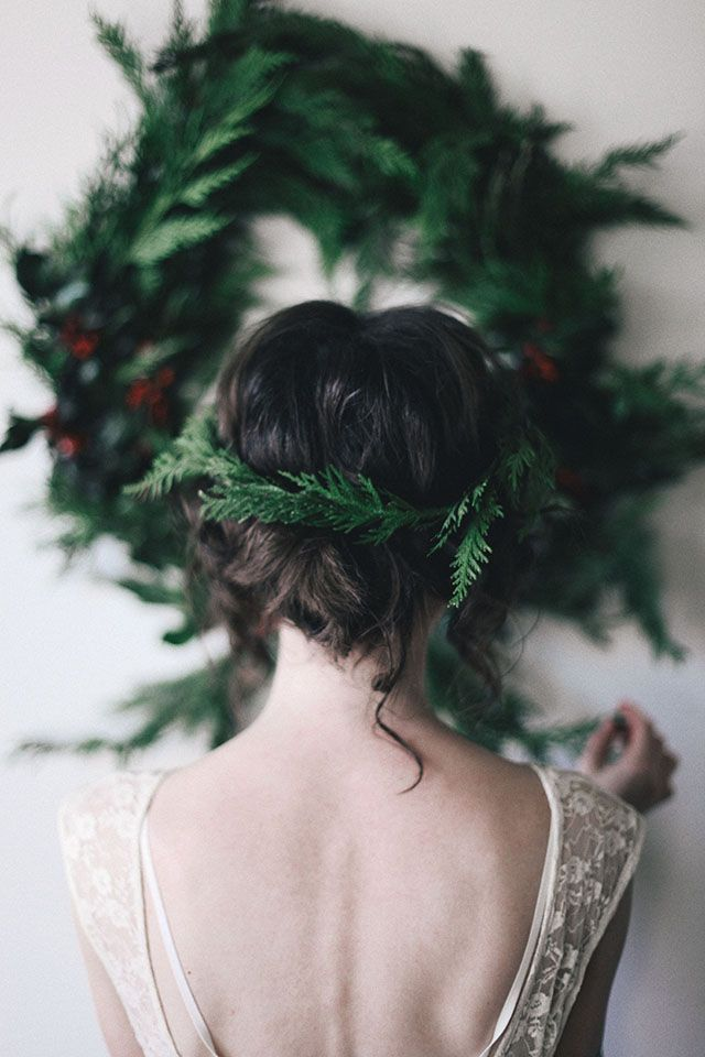 crown / wreath reference, the dark evergreen might be a lovely contrast to all of the brown