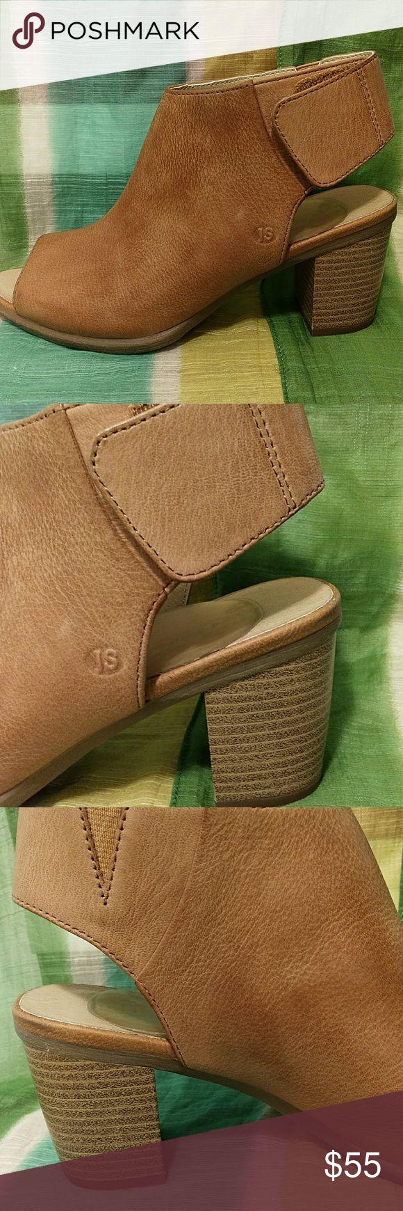 "Josef Seibel NWOT,open toe leather bootie Never worn,very soft leather , light brown color heel 3"" Josef Seibel Shoes Heeled Boots"