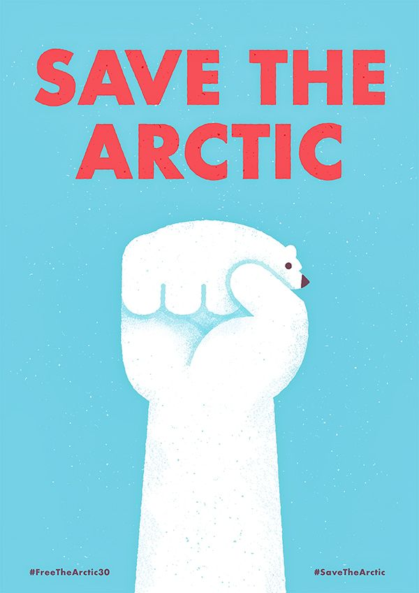 """Save the Arctic #poster mixes some nice icons of the """"revolution"""" and the arctic to get message over simply but powerfully."""