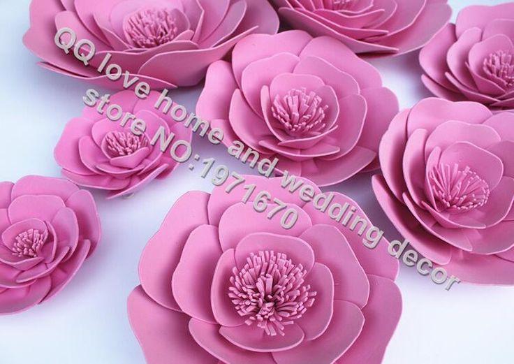 5pcs/lot 10cm20cm 30cm 40cm 50cm Large bubble paper flowers studio wedding event props flat rose stage props wedding pvc rose