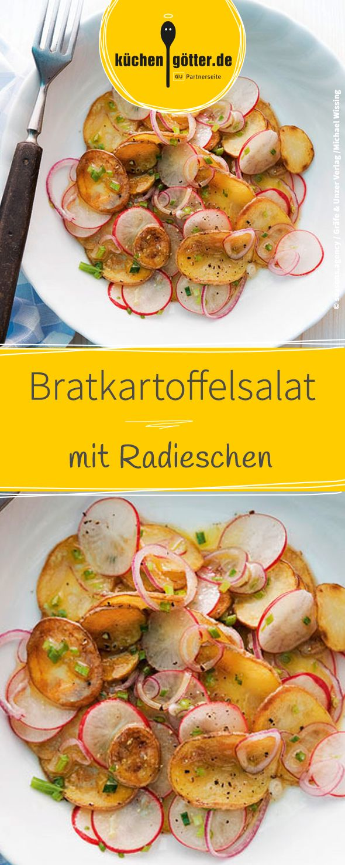 Rezept für warmen Bratkartoffelsalat mit Radieschen.