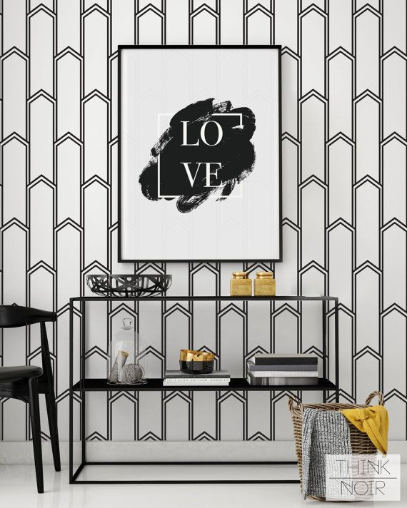 Minimalistic art deco removable wallpaper self adhesive for Art deco wallpaper mural