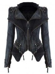 Women' Street Lapel Rivet Zipper Jean  Jacket