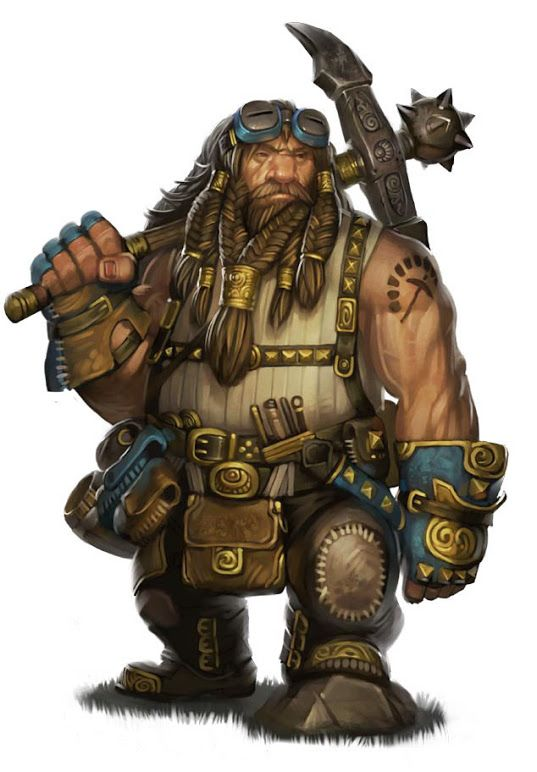 I found this picture via another Pinner but I am not really sure where it came from originally. I believe it is a Dwarf from the Pathfinder game.  I do like that tattoo he's sporting!