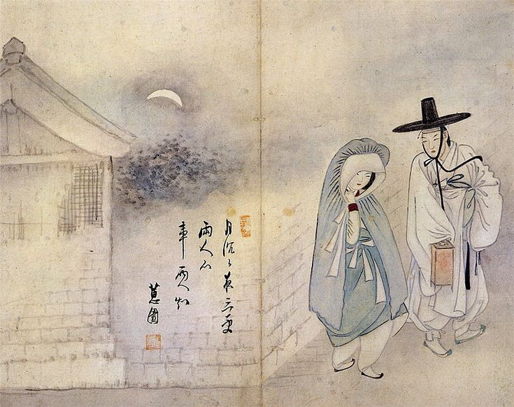 Lovers under the moon  (월하정인 月下情人). Wolha jeongin, from Hyewon pungsokdo drawn by Shin Yun-bok, or Hyewon. It is stored at Gansong Art Museum, Seoul, South Korea.circa 1805