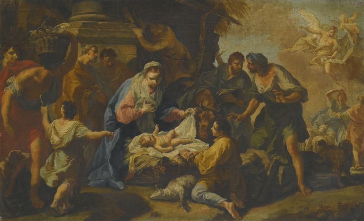 Anton Kern TETSCHEN, BOHEMIA 1709 - 1747 DRESDEN ADORATION OF THE SHEPHERDS oil on canvas 45.2 by 72.9 cm.; 17 7/8  by 28 3/4  in.: