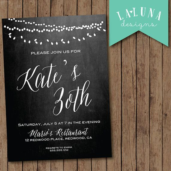 30th Birthday Invitation, Chalkboard Birthday Invite, Vintage lights invitation, Printable Birthday Invite