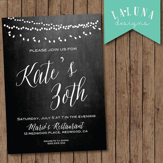 30th Birthday Invitation, Chalkboard Birthday Invite, Vintage lights invitation, Printable Birthday Invite