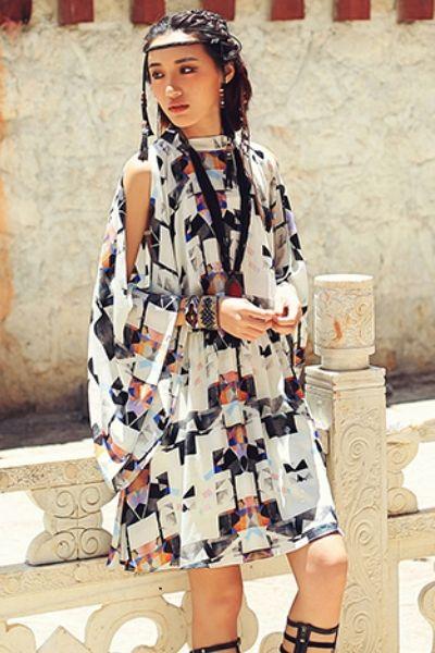 Aporia.As Geometric Print Dress