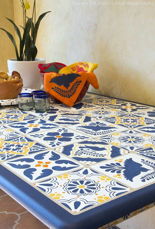 How To Stencil Video Tutorial   Decorating And Upcycling A Mexican Talavera  U0026 Ceramic Tile Table