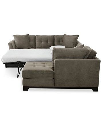 Image 7 of Elliot 3-Pc. Microfiber Sectional with Full Sleeper Sofa & Chaise, Created for Macy's