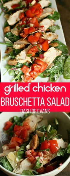 Quick and easy Chicken Bruschetta salad using Bolthouse Farms dressings. Perfect for a mason jar salad, too! via @DashOfEvans