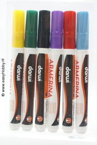 Porselein verfstift assorti 6 kleuren