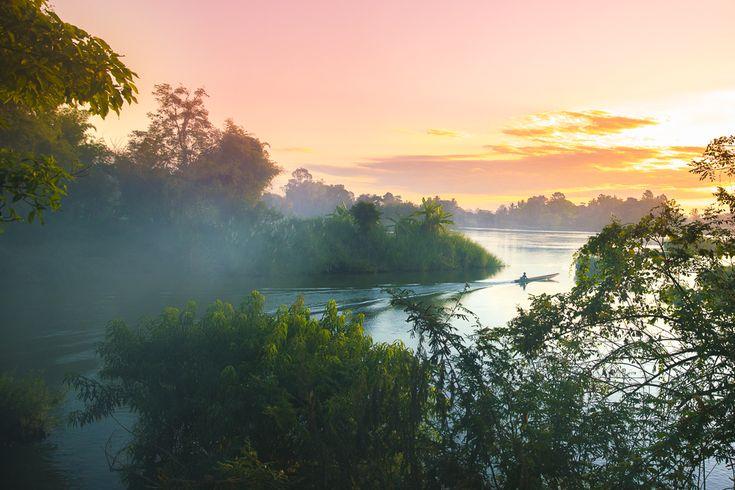 Don Khong oder Don Det? Wir entscheiden uns für ein Bungalow am Mekong auf Don Det bei den 4000 Islands und hatten fette 35 Grad im Dezember!