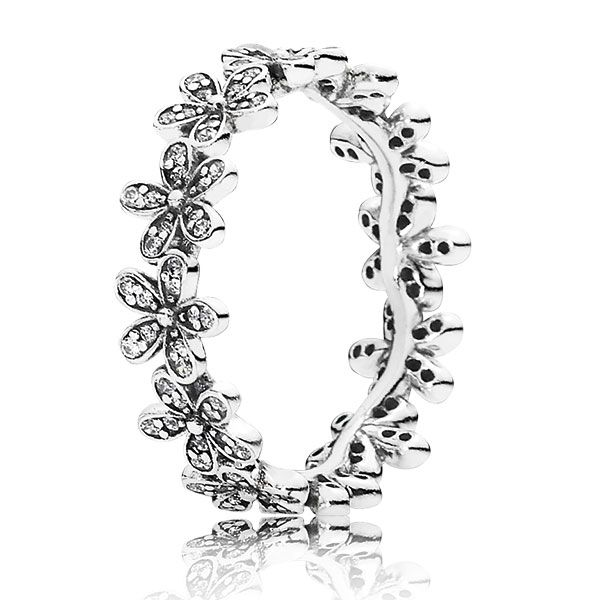 Delicate flowers, embellished with cubic zirconias, are linked together to form a glittering daisy chain. This feminine ring is great for stacking - wear it with other floral pieces to create your own unique bouquet.
