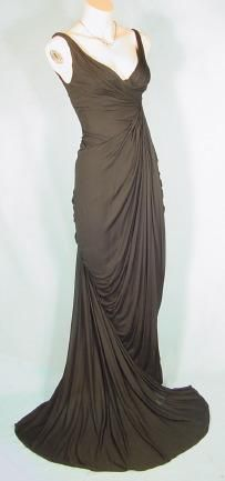 c. 1940's/1950's Black Silk Jersey Gown by Berman's  Costumers, Paris, London, Hollywood