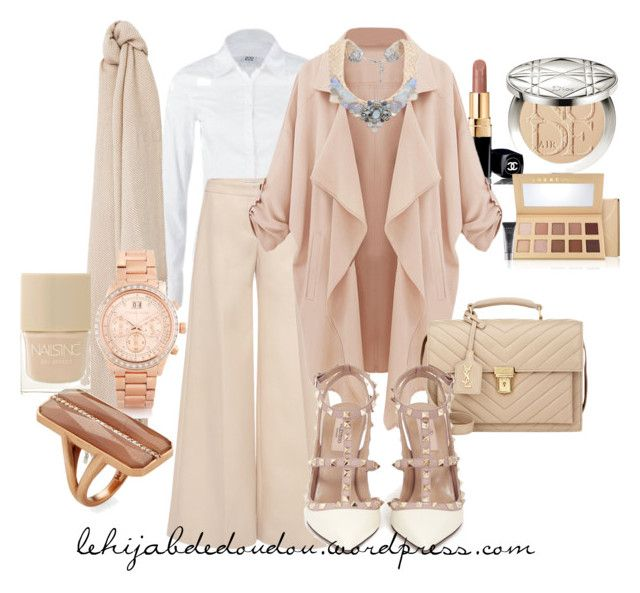 """Beige Hijab Outfit"" by le-hijab-de-doudou ❤ liked on Polyvore featuring Chanel, Vero Moda, Mary Katrantzou, Yves Saint Laurent, Valentino, Weekend Max Mara, Violeta by Mango, Michael Kors, Paige Novick and Christian Dior"