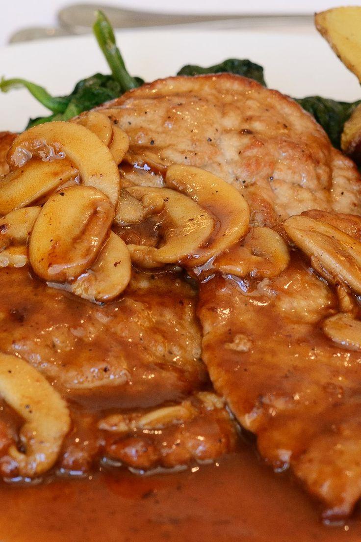 Course(s): Entrée; Ingredients: black pepper, fresh rosemary, garlic, low-salt chicken broth, marsala wine, mushrooms, olive oil, salt, shallot, unsalted butter, veal cutlet