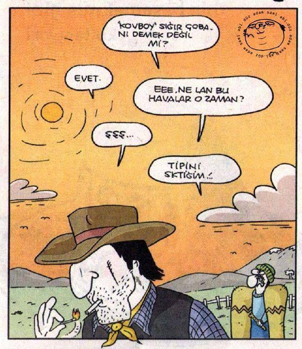 Kovboy sığır çobanı, karikatür