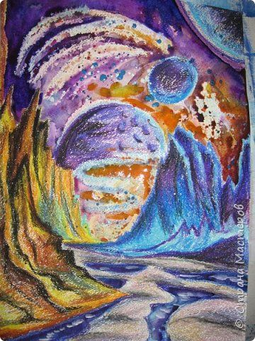 Картина панно рисунок Мастер-класс Урок рисования День космонавтики Рисование и живопись Космические роботы Акварель Бумага Гуашь Диски ватные фото 24