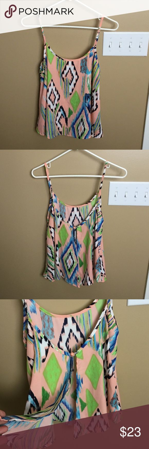 Karlie summer cami tank top Really cute and comfy cami top from the well known brand, Karlie! Button on the back and then opens for a unique look! Fun spring and summer colors...peach and lime green, bright blue, navy and white! Geometric Aztec print! Worn one time! In excellent condition! Karlie Tops Tank Tops