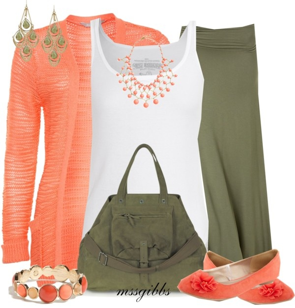 """""""Spring Olive & Coral"""" by mssgibbs on Polyvore"""
