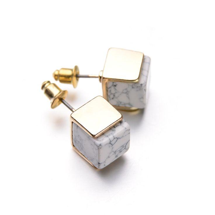 Aliexpress.com: Acheter 2015 New personnalisé Hotselling 18 K plaqué or géométrique blanc marbré Faux pierre boucles d'oreilles pour les femmes de pierre pavés pour vente fiable fournisseurs sur Miss Fashion Co.,Ltd