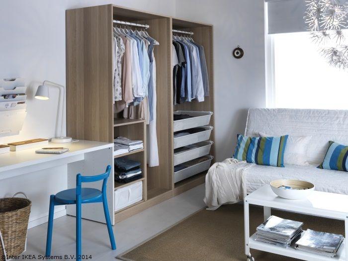 Birou, dressing și cameră de zi. Camerele mici pot deveni ușor mai mari.
