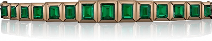 The Emerald Tablet Bracelet  Never before has a matched collection of gem quality emeralds been gathered into a vivid bracelet of such extraordinary beauty. The emeralds were mined from the Kunas mine in Colombia and cut by the master cutter Adolfo Argotty.  The Emerald Tablet Bracelet interweaves its rare emeralds in a luxurious bold framework of warm red gold while conjuring the essence of the timeless treasures that lie at the heart of this collection.  Inspired by ancient stone tablets…
