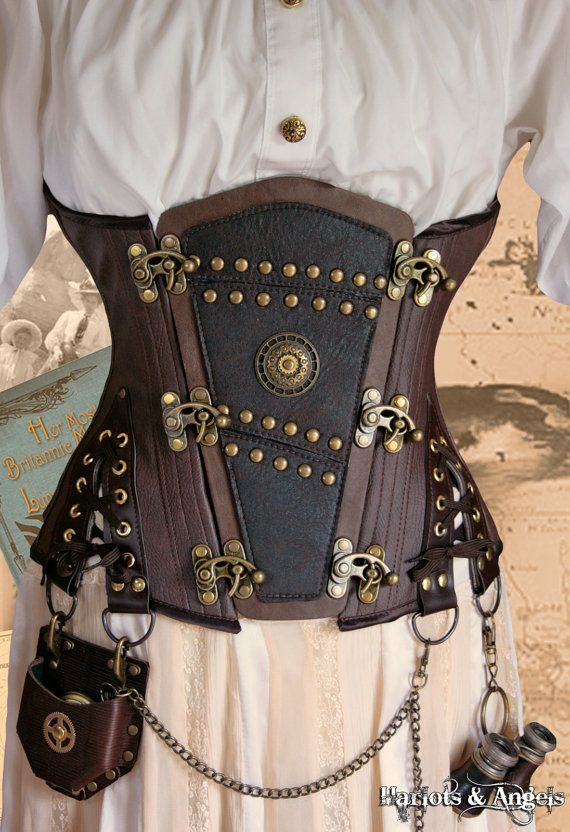 "Unique Steampunk Brass leather applique ""Shadow""  Explorer Corset (any size). $225.00, via Etsy."