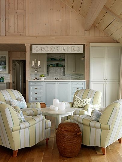 Eat-in area with a built-in bar: Dining Rooms, Games Rooms, Living Rooms, Seats Area, Sarahrichardson, Club Chairs, Sarah Richardson Design, Lakes Cottages, Sit Area