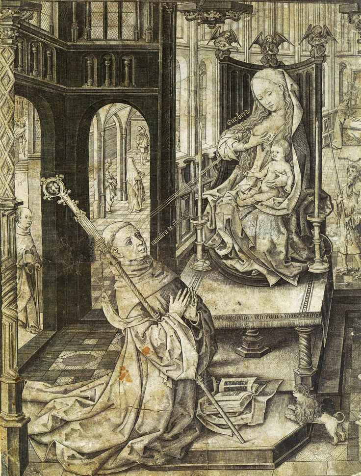 An engraving of The Lactation of Saint Bernard. The Virgin Mary is shooting milk into the eye of Saint Bernard of Clairvaux from her right breast which allegedly miraculously cured an eye affliction.