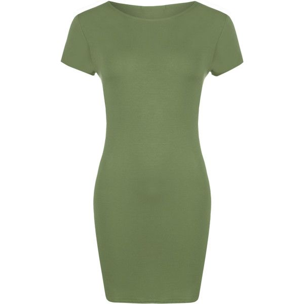 WearAll Plus Size Bodycon T-Shirt Dress ($12) ❤ liked on Polyvore featuring dresses, khaki, plus size green dress, plus size dresses, plus size bodycon dresses, green t shirt dress and t shirt dress