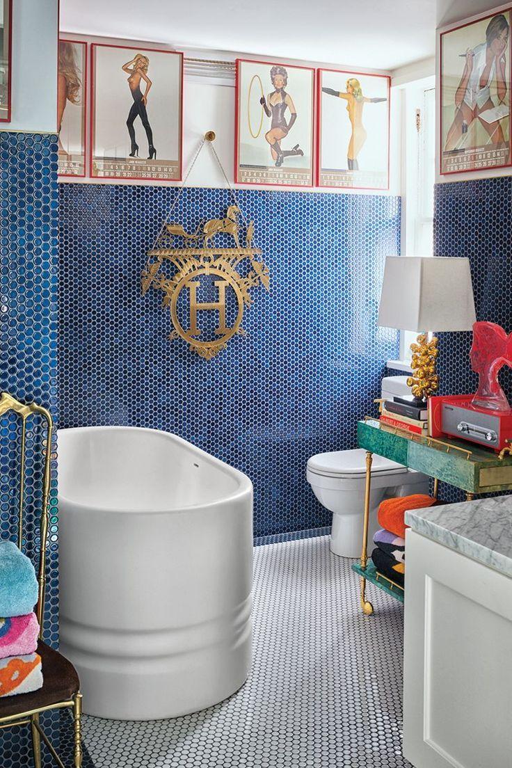 room bathroom blue orange tile interior design wall