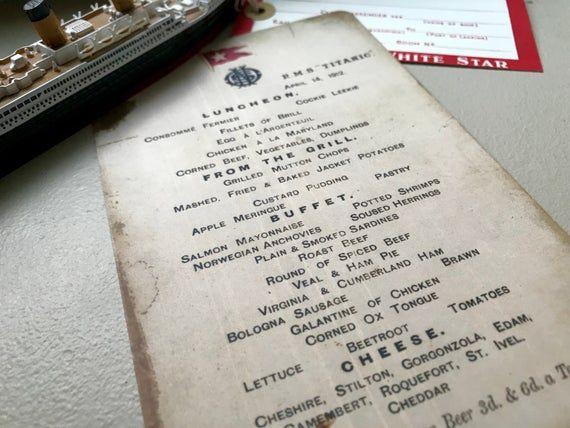 RMS Titanic Luncheon Menu and Postcard Titanic Artifact ...