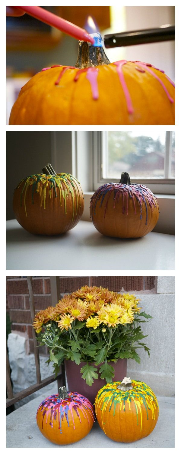 Crayon Drip Pumpkins - This looks like the easiest way to do it!