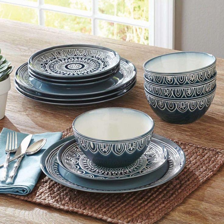 12-piece Stoneware Dinnerware Set Service for 8 Dinner Dishes Plates Bowls Teal #BetterHomesandGardens