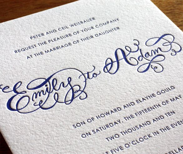 Emily's hand-drawn calligraphy spells out the couple's names, while contrasting fonts announce important details of the upcoming event. These fonts set the tone for a fun or formal affair, and make an amazing letterpress invitation card that no guest will forget.