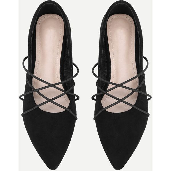 SheIn(sheinside) Criss Cross Pointed Toe Suede Flats (1.475 RUB) ❤ liked on Polyvore featuring shoes, flats, black suede shoes, suede shoes, black flat shoes, pointy-toe flats and black shoes
