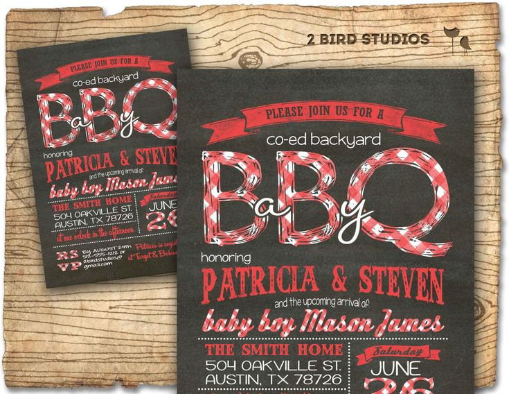 Baby Q Baby Shower Invitation   BBQ Baby Shower Coed Couples Baby Shower  Invite   DIY Chalkboard Printable Invitation For Babyque