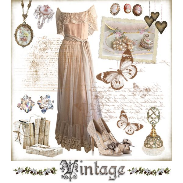 Vintage inspired by amy-b1988 on Polyvore featuring polyvore fashion style Victor Costa Semilla Theodoros Vintage Nearly Natural vintage