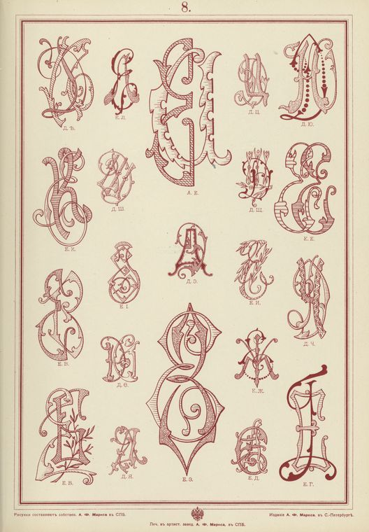 Albom monogramm dlia mietki biel'ia, gravirovan. Published in S. Peterburg, Russia 1902.