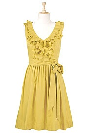 cute!Poplin Dresses, Yellow Dresses, Red Shoes, Front Poplin, Clothing Dresses Outfit, The Dresses, Mustard Yellow, Dreams Closets, Ruffles Front