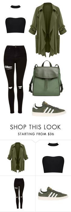 """green like an olive"" by kezhea ❤ liked on Polyvore featuring Topshop, adidas Originals and Skagen"