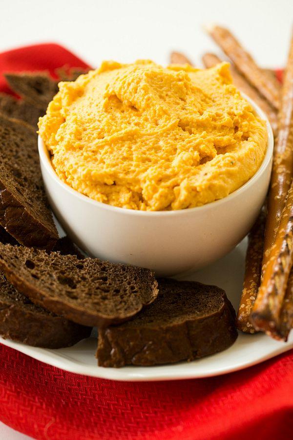 Oktoberfest German Beer Cheese Spread | browneyedbaker.com #recipe