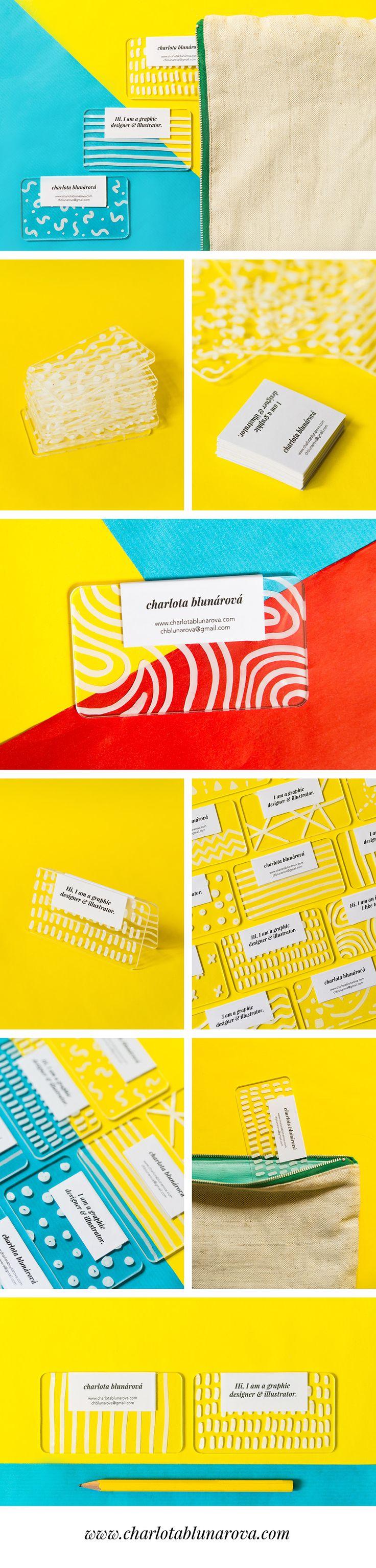 Creative colorful modern plastic business cards by designer Charlota Blunarova. Transparent plexiglass handdrawn with white permanent marker. www.charlotablunarova.com