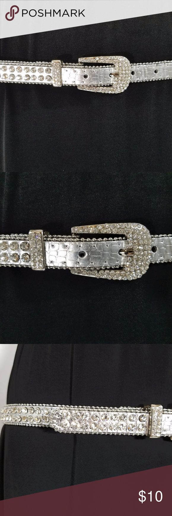 """Bling rhinestone sparkly belt Really cute belt with a lot of sparkly rhinestones.   In great condition with a little wear around the one hole.  41"""" Long in total 17.5"""" wide using the first hole 15.5"""" wide using the last hole Accessories Belts"""