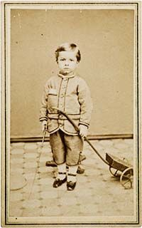 1864 CDV Image - boy with a pull toy.    This is a great article on dating Carte de visite photographs (CDV).