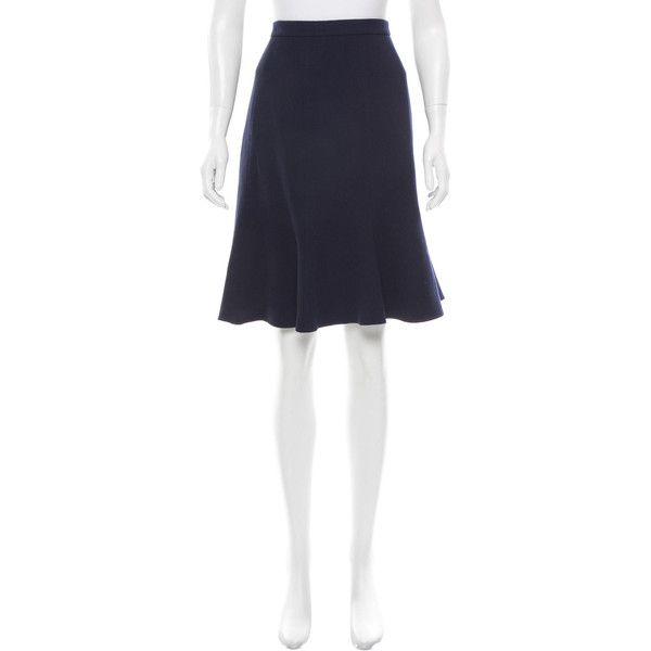 Pre-owned Oscar de la Renta Resort 2017 Wool Flared Skirt ($385) ❤ liked on Polyvore featuring skirts, blue, wool skater skirt, knee high skirts, flared skirt, knee length skirts and flared skater skirt