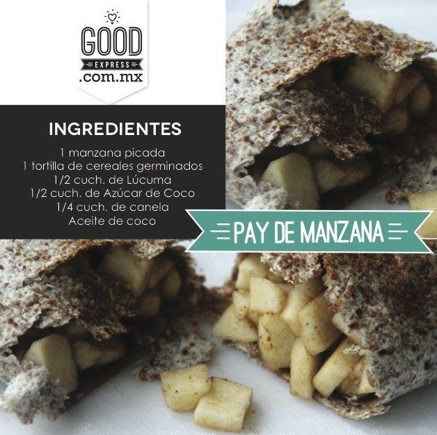 Pay de manzana- - Prepárate está versión Healthy del típico pay de manzana Ingredientes 1 manzana picada 1 tortilla de cereales germinados 1/2 cuch. de Lúcuma 1/2 cuch. de Azúcar de Coco 1/4 cuch. de canela Aceite de coco Procedimiento 1.Precalienta el horno a 400. 2.Mezcla la manzana picada con la lúcuma, la azúcar de coco y la canela. 3. Calienta la tortilla para que no se rompa, después coloca en el centro la mezcla de manzana para doblar como burritos. 4. Coloca los ...